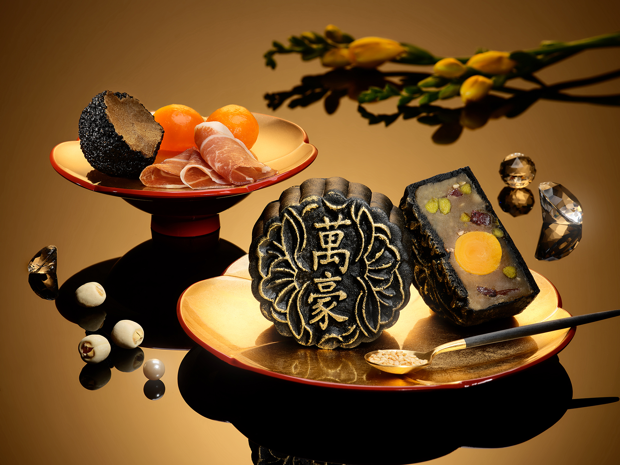 Marriott 2020 Gold Black Truffle Baked Mooncakes with Bayonne Ham